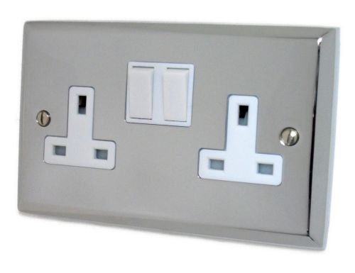 G&H SC10W Spectrum Plate Polished Chrome 2 Gang Double 13A Switched Plug Socket